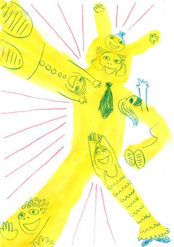 イラスト『合体お父さんロボ』by J.F.Kooya