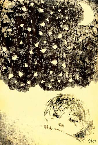 PEACECARD2009没イラスト『何かにおびえずに眠れる夜が来ますように』by J.F.Kooya